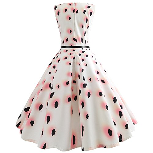Party with Ball Women Summer Pink Style Belt Print Black for Vintage Dress Hepburn Pure Gown Beam Waist 52 amp; Hem White Birdfly BAwOqHaw