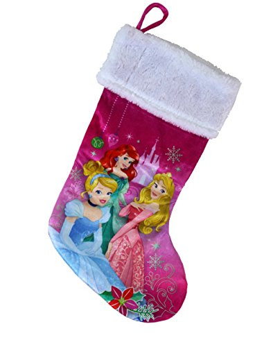 Disney Princess 18 Inch Plush Velvet Christmas Holiday Stocking - Cinderella, Aurora, and Ariel