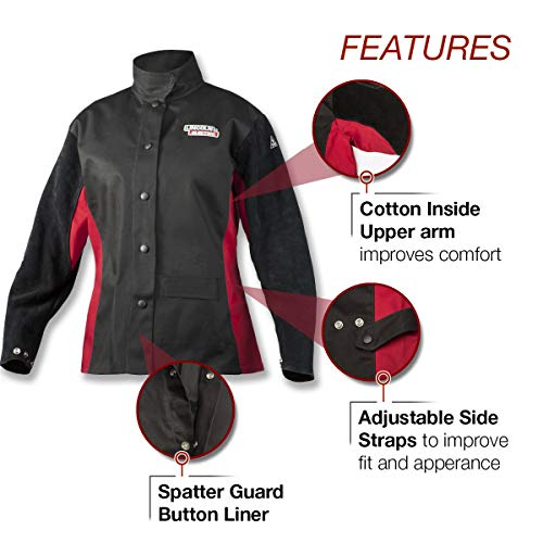 Lincoln Electric Women's Leather Sleeved Welding Jacket |  Premium Flame Resistant (FR) Cotton Body | Women's Small | K3114-S by Lincoln Electric (Image #2)