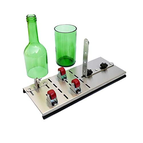 Glass Bottle Cutter, Stainless Steel Adjustable Wine Bottle Cutter Kit Beer Cutting Tool Scoring Machine for DIY Glassware/Lamps/Vases/Candle Holders,Red ()