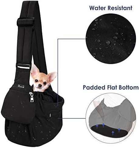 Lukovee Pet Sling Carrier, Dog Papoose Hand Free Puppy Cat Carry Bag with Bottom Supported Adjustable Padded Shoulder Strap and Bag Opening Front Zipper Pocket Safety Belt for Small Dogs