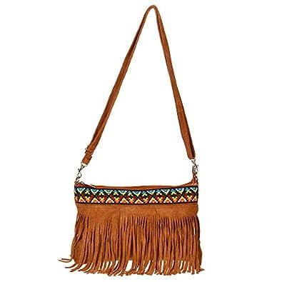 4043fdb7c3795 Kossberg L22 Mini Fransen echt Wildleder Schultertasche Leder Hippie Style  Indianer Umhängetasche Shopper Handtasche Tasche (