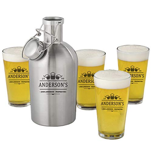 Personalized Stainless Steel Beer Growler with Pint Glass Set - 3 Beers by A Gift Personalized