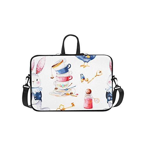 Wonderland Cute Bird with Cylinder Hat Pattern Briefcase Laptop Bag Messenger Shoulder Work Bag Crossbody Handbag for Business Travelling