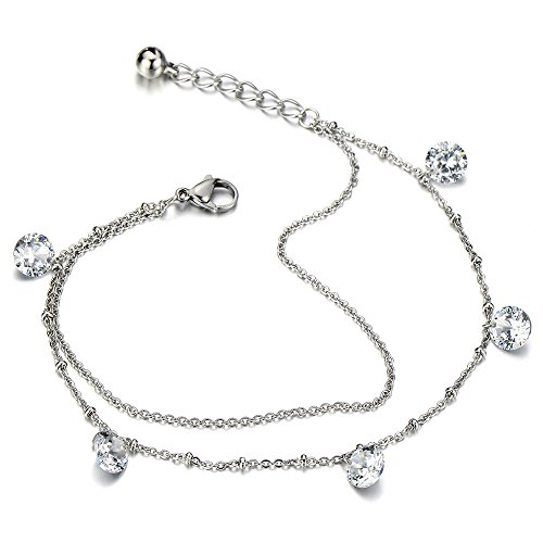 Tow row Stainless Bracelet Dangling Zirconia