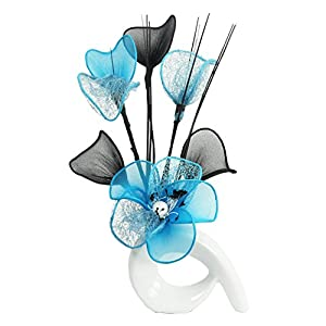 White Vase with Light Teal Blue Artificial Flowers, Ornaments for Living Room, Window Sill, Home Accessories, 32cm 90