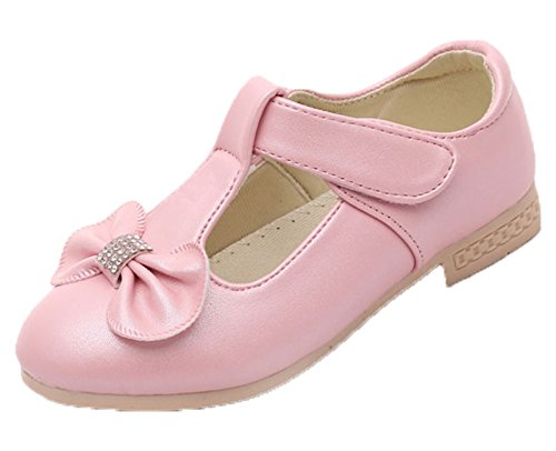 Kikiz Girls Leather Dress Ballet Mary Jane Bow Slip On Flat Shoes (Toddler/Little Kids) (Pink Mary Jane Dress Shoes)