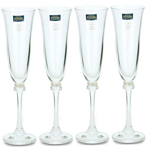 "Swarovski Jeweled ""Alexandra"" Crystal Champagne Flutes, Tulip Champagne Glasses Inlaid with Crystals, 4-Piece Set"
