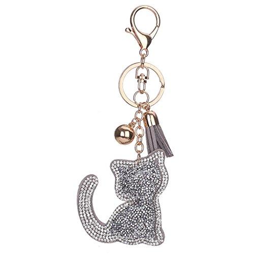 Doober New Charm Kitty Keyring Cat Design Tassel Keychain Rhinestone Handbag Pendant