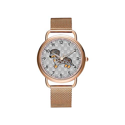 Luxury Christmas Gift Watch ES Women's Fashion Birthday Gift Japanese Quartz Girl's Rose Gold Bracelet Watch Chocolate and Tan Dapple Smooth Coat Dachshund Wrist Watch ES