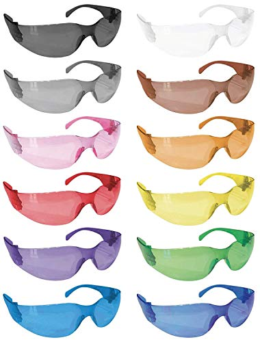 BISON LIFE Full Color Safety Glasses | One Size, Adult, Teens, Youth, Protective Polycarbonate Lens, 12 Full Color Variety Pack, 12 per Box (1 box/12 Pairs)