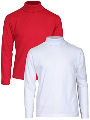 Real Love Girls 2 Pack Basic Solid Turtleneck, White & Red, Size ()