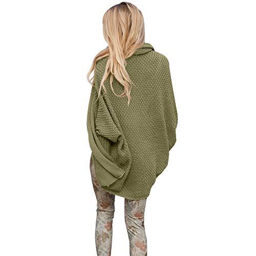 Outwear Over Longues Femme Coat Cardigan Oversized Pull Bonnetterie Tricotage Vert Casual Desshok Manches Gilet Veste aAZqHtOqw