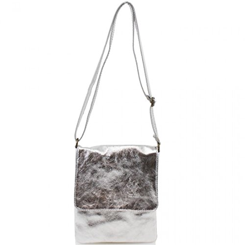 Genuine Bag Cross Italian bag Silver Flap Vera Pelle Women Leather Shoulder Body Ladies AZqFPf