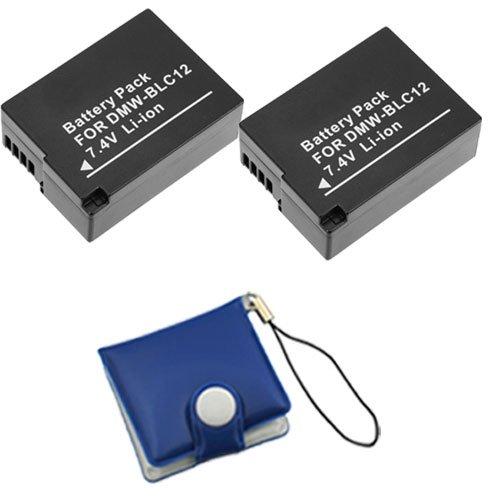 BIRUGEAR 2x DMW-BLC12 Replacement Lithium-Ion Battery for Panasonic Lumix DMC-G6, G5, G5KK, G5K, G5W, G5X, GH2, GH2K, GH2H, FZ200, FZ200K Digital Camerawith Memory Card Case by BIRUGEAR