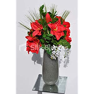 Silk Blooms Ltd Artificial Bright Red Amaryllis and Pixie Orchid Floral Arrangement w/Foliage and Needle Grass 117