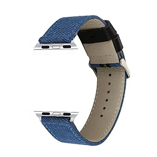 VONTER Replacement Bands for Apple Watch Band Men/Womens Model Military Fabric Canvas Woven Bracelet Wrist Strap with Metal Clasp Adapter for Series2/1 iWatch Sport Edition-Denim Blue/42mm