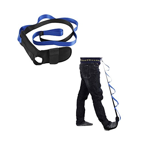 Stretching Strap Leg Stretch Out Strap Belt & 6 Grip Loops for Hamstring, Achilles, Calf, Ankle Physical Therapy Stretcher Rope (Blue) by Mybow