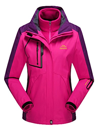 Lottaway Detachable Fleece Waterproof Outdoor Snow Ski-wear Climbing Parka Coat Rosy XL For Women by Lottaway®