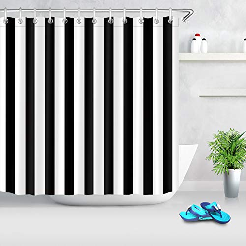 LB Black and White Shower Curtain,Striped Bathroom Curtain,72x72 inch Waterproof Polyester Fabric,Fashion Bath Decor,Ring Hooks Included (Best Material For Curtains Outdoor)