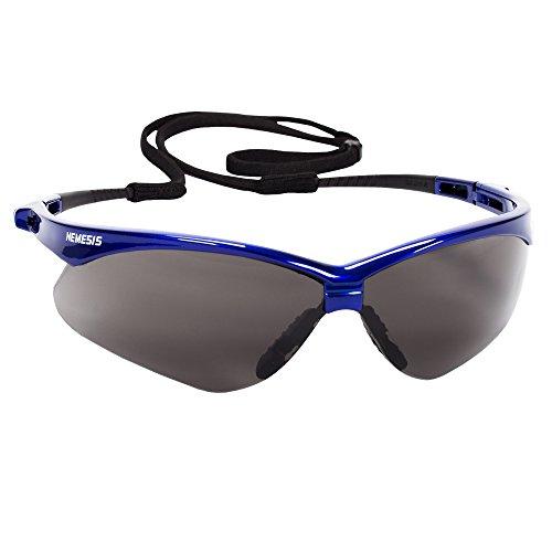 Jackson Safety V30 Nemesis Safety Glasses (47387), Smoke (Safety Sunglasses) Anti-Fog Lens with Metallic Blue Frame, 12 Pairs / Case