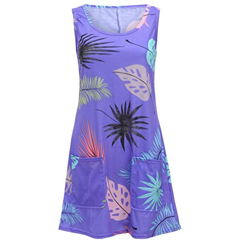Women's Casual Dress Sleeveless Bohemian Dress Classic Refined Tunic Leaf Vintage Printed Pockets Sundress Size S-2XL (XL, Purple) by Sengei (Image #4)