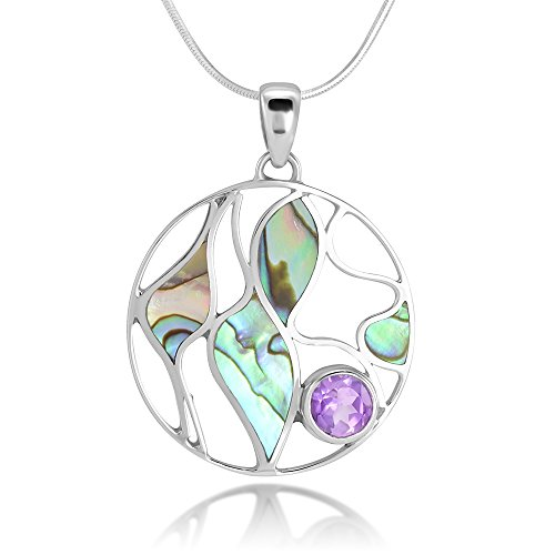 Sterling Silver Amethyst Gemstone Green Abalone Shell Leaves Design Round Pendant Necklace 18