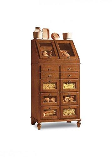 Dispensa legno arte povera credenza color noce lucido 10 cassetti 2 ...