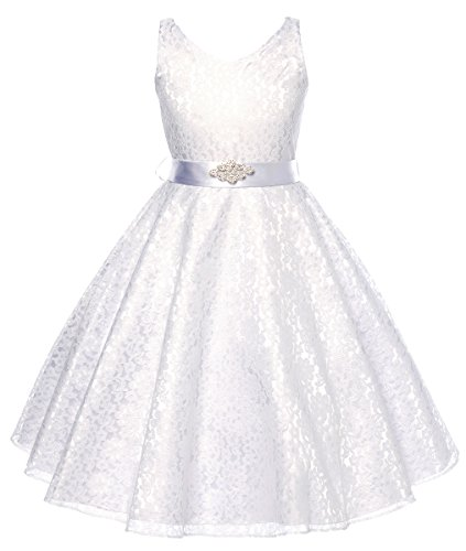 DressForLess Lovely Lace V-Neck Flower Girl Dress , White, 12 -