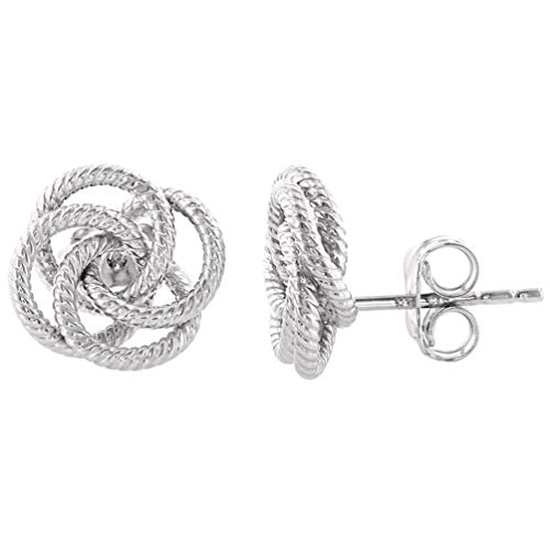 (14K White Gold Twisted Love Knot Stud Rope Earrings, 11mm)