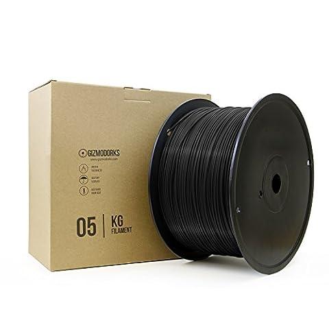 Gizmo Dorks PLA Filament for 3D Printers 3mm (2.85mm) 5kg, BLACK - 6.5k Metal