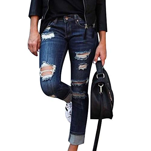 EVEDESIGN Women's Destroyed Ripped Holes Skinny Jeans Casual Distressed Slim Fit Jeans Fashion Low Stretchy Rolled Up Straight Leg Denim Pants with Pockets Darkblue