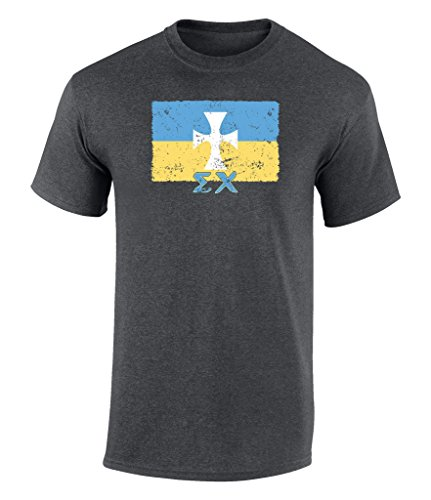 Sigma Chi Vintage Distress Group Flag Print T Shirt Dark Heather Extra Large - Gifts Dark T-shirt