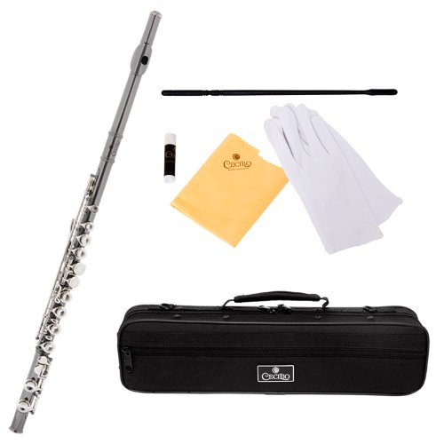 Cecilio FE-280BNN Black Nickel Plated Body and Nickel Plated Keys C Flute with Case and Accessories
