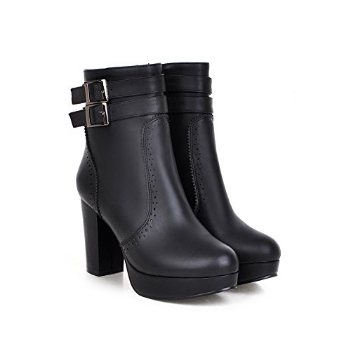 Platform AdeeSu Girls Boots Leather Black Imitated Heels Buckle Chunky wwIzH7Uq