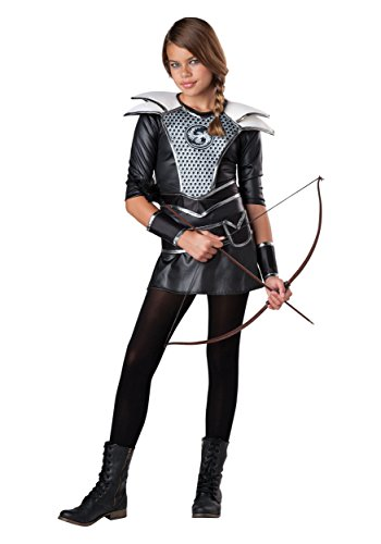Costumes Huntress Midnight (Fun World Women's Tween Midnight Huntress Costume, Black/Silver,)