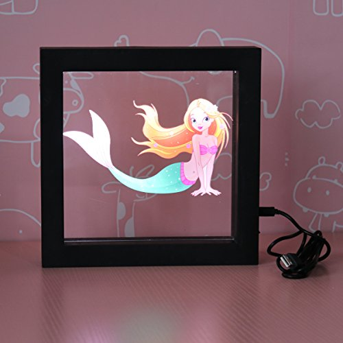 Photo Frame Night Light, Mermaid Photo Frame Lights 3D Illusion Lamp LED Light up Night Light Marquee Sign Battery Operated Table Desk Lamp Gift for Kids, Friend and (Photo Night Light)