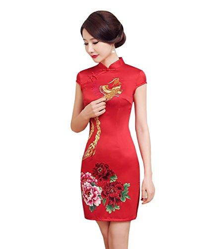 ACVIP Women's Satin Pheonix and Peony Chinese Wedding Mini Qipao Dress Red 0-8 (6)
