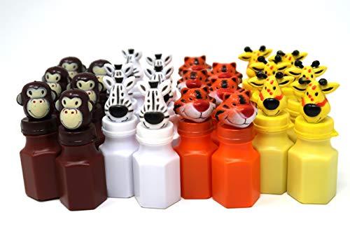 (4E's Novelty Zoo Animal Figures Bubbles Assortment Bulk Pack of 24, Jungle Characters Bubble Bottles Party Favors for Kids, Lion Zebra Giraffe Monkey Tiger)