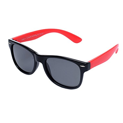 PASNEW TR90 Polarized Sunglasses Party Favors Wayfarer Flexible Sunglass For Kids Girls Boys and Baby ages 3-12 (Black - Year For Sunglasses Olds 12