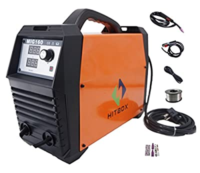 MIG Welder Inverter 160A 220V DC 160 amp MIG Welding Machine Gas Gasless Flux Cored Wire Solid Core Wire Welder with Mig Torch Earth Clamp Ready to Use