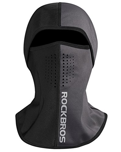 RockBros Winter Windproof Balaclava Thermal Fleece Ski Full Face Neck Cover Airhole Mask For Men Cycling Motorcycle Warmer (Black Gray)