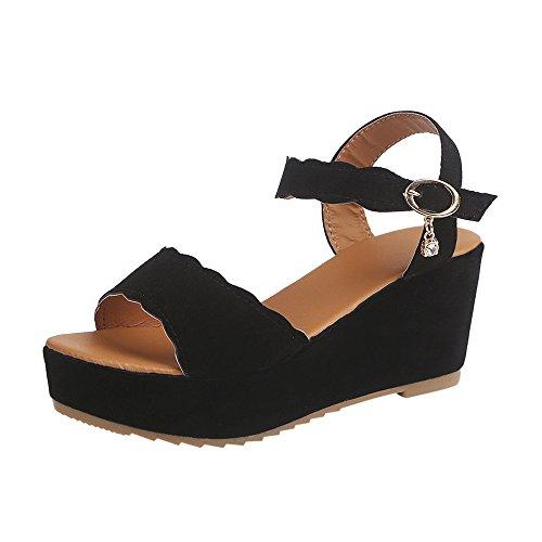 Hot Sale! ❤️ Women Sandals, Neartime Summer Fish Mouth Non-slip Platform High Heels Shoes Buckle Slope Sandals (US:7.5, Black) -