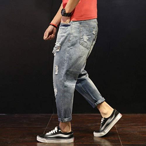 Abiti Uomo Da Jeans Cono Stil1 Pantaloni In Slim Taglie Fit Comode Denim Casual Larghi Con Strappati 5T6rxwTg