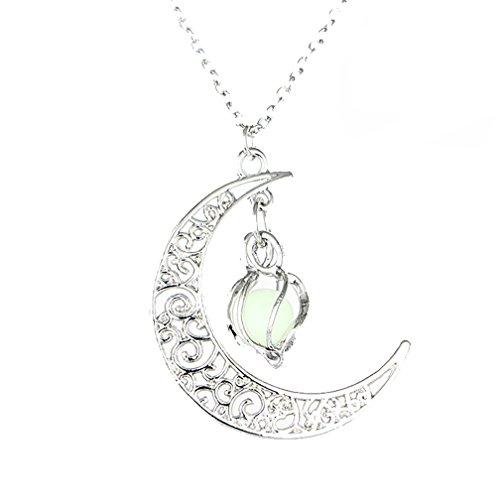 MJartoria Filigree Glim Cage Crescent Moon Green Ball Cabochon ()
