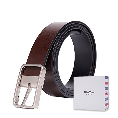 BISON DENIM Men's Dress Belt Genuine Leather Alloy Pin Buckle Belts Luxury Brand Belt 115cm Coffee