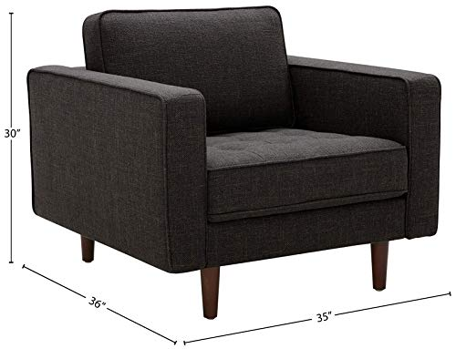 Rivet Aiden Mid-Century Chair with Tapered Wood Legs, 35