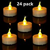 #7: Tea Light. Flameless LED Tea Lights Candles (24 Pack), Flickering Warm Yellow. Battery-powered Tealight Candle. Ideal for Party, Wedding, Birthday, Festivals and Home Decoration