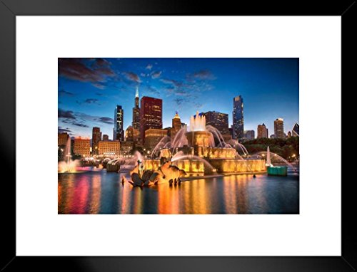 Poster Foundry Buckingham Fountain Chicago Illinois at Twilight Photo Art Print Matted Framed Wall Art 26x20 ()
