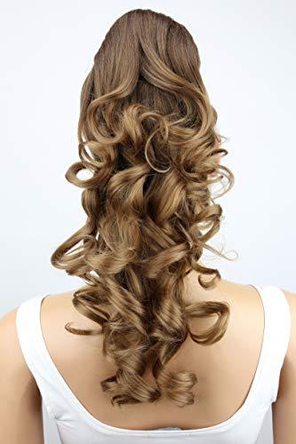 PRETTYSHOP Clip en las extensiones postizos de cabello pelo largo hechos de fibras sinteticas resistentes al calor ombre marron # 6T27 H142